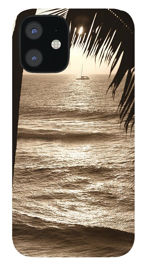 Hawaii iPhone 12 Case featuring the photograph Ship in Sunset by Marilyn Hunt