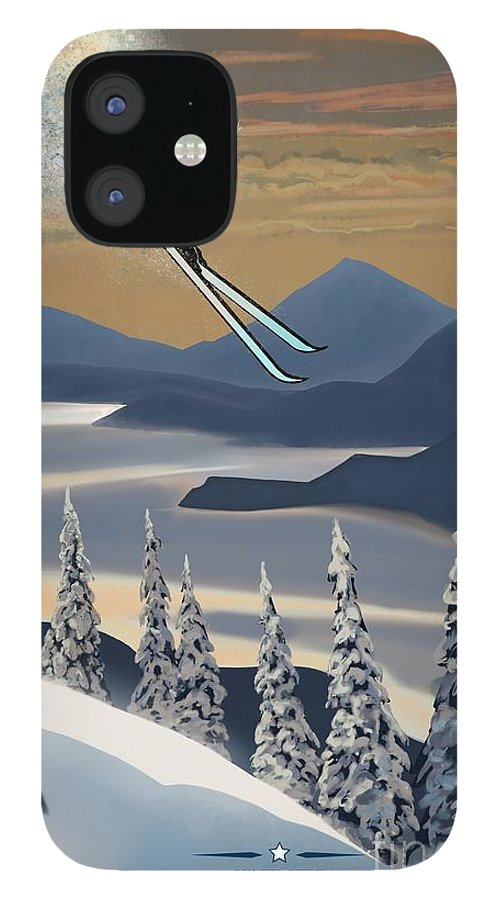 Retro Ski Art IPhone 12 Case featuring the painting Silver Star ski poster by Sassan Filsoof