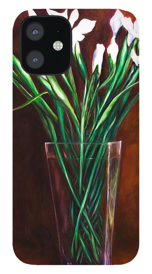 Iris IPhone 12 Case featuring the painting Simply Iris by Shannon Grissom