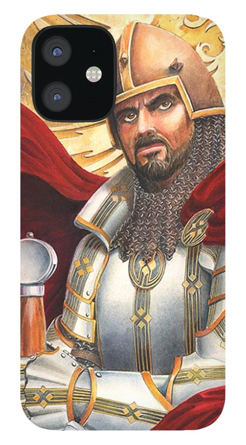 Swords IPhone 12 Case featuring the drawing Sir Gawain by Melissa A Benson