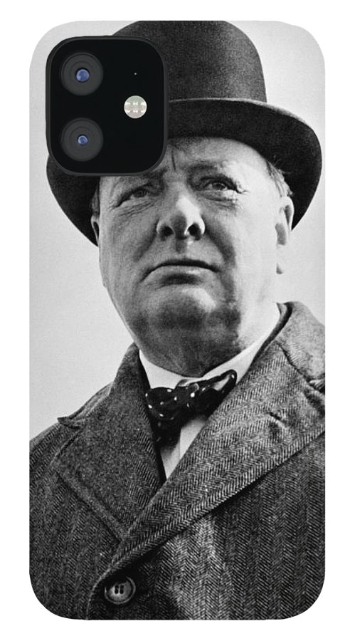 Wwii IPhone 12 Case featuring the photograph Sir Winston Churchill by War Is Hell Store