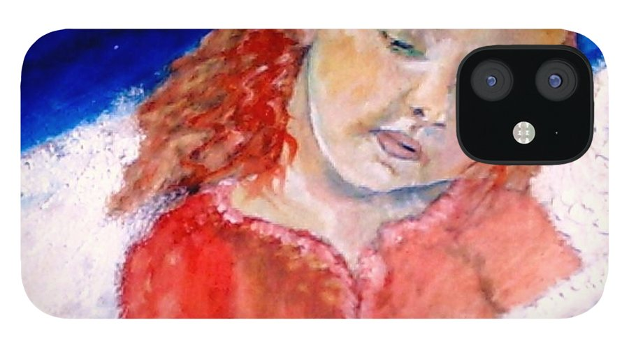 Angels IPhone 12 Case featuring the painting watching the Dreamers by J Bauer