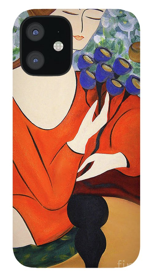 #female #figurative #floral #fineart #art #images #painting #artist #print #canvas #sittingwomen IPhone 12 Case featuring the painting Sitting Women by Jacquelinemari