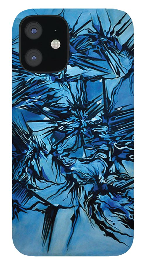 Abstract Design iPhone 12 Case featuring the painting Sky vs Philosophy by Carmen Fine Art