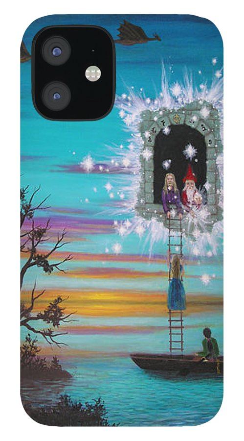 Fantasy IPhone 12 Case featuring the painting Sky Window by Roz Eve