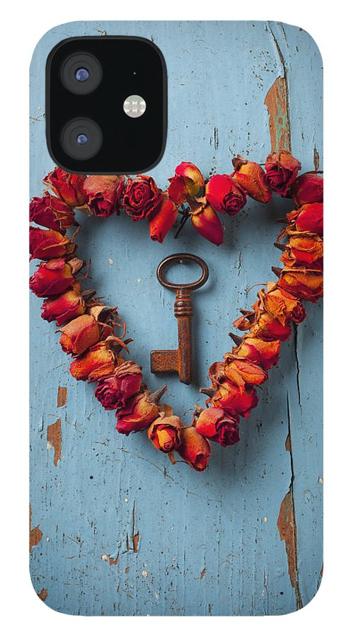 Love Rose Heart Wreath Key iPhone 12 Case featuring the photograph Small rose heart wreath with key by Garry Gay