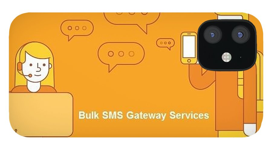 Bulk Sms IPhone 12 Case featuring the digital art SMS Gateway - A smartest way to reach huge audience by Natasha Williams