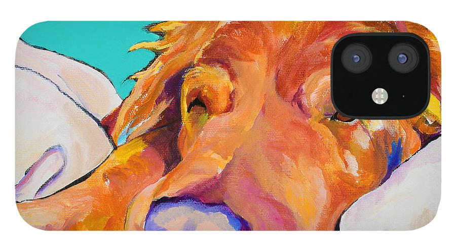 Dog Poortraits IPhone 12 Case featuring the painting Snoozer King by Pat Saunders-White