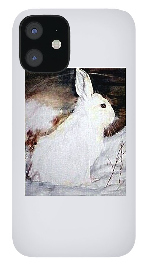 Snowshoe Hare IPhone 12 Case featuring the painting Snow Bunny by Debra Sandstrom