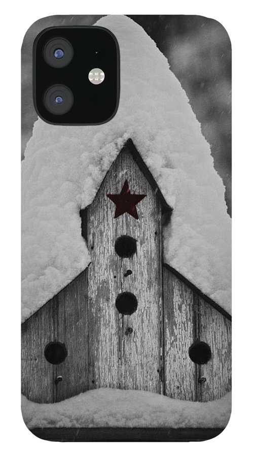 Snow IPhone 12 Case featuring the photograph Snow Covered Birdhouse by Teresa Mucha