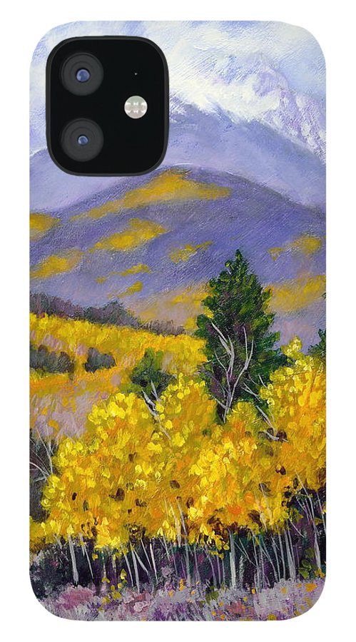 Rocky Mountains IPhone 12 Case featuring the painting Snowing in the Mountains by John Lautermilch