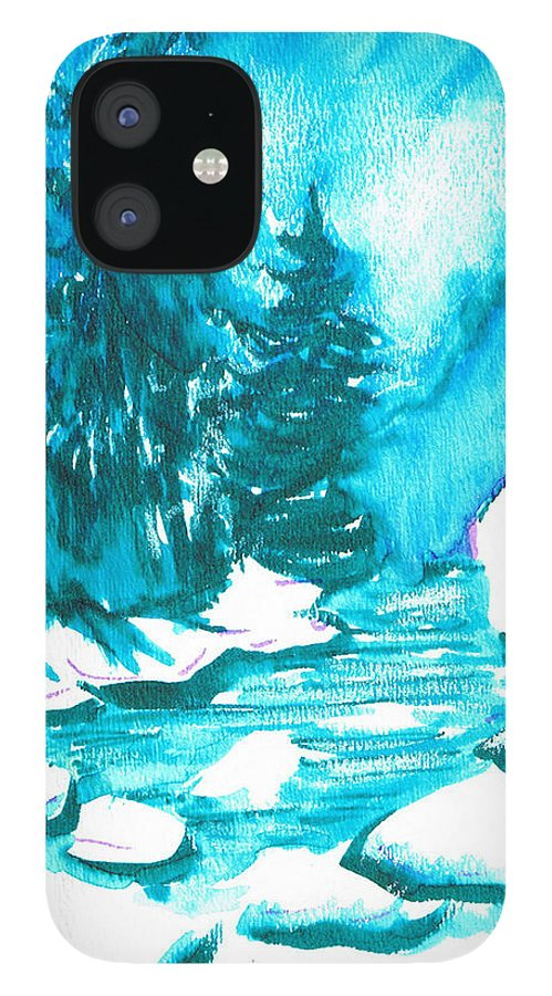 Chilling IPhone 12 Case featuring the mixed media Snowy Creek Banks by Seth Weaver