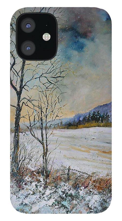 Landscape IPhone 12 Case featuring the painting Snowy landscape by Pol Ledent