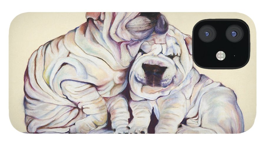 Dog Painting IPhone 12 Case featuring the pastel Snuggles by Pat Saunders-White