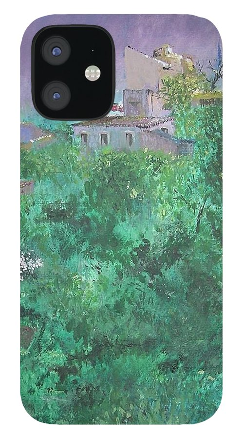 Impressionist IPhone 12 Case featuring the painting Solitary Almond Tree In Blossom Mallorcan Valley by Lizzy Forrester