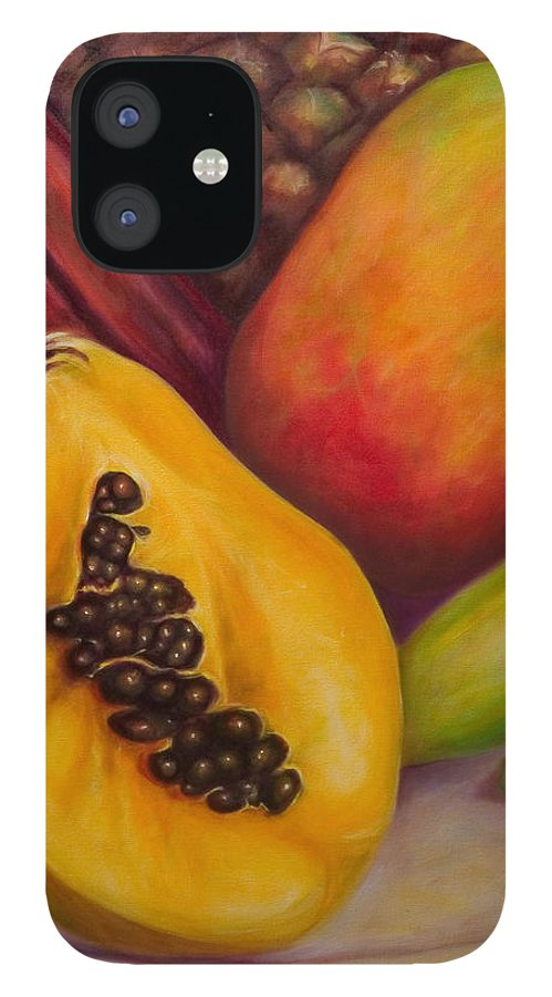 Tropical Fruit Still Life: Mangoes IPhone 12 Case featuring the painting Solo by Shannon Grissom