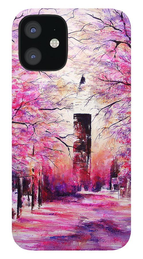 Landscape IPhone 12 Case featuring the painting South Market on Ice by William Russell Nowicki