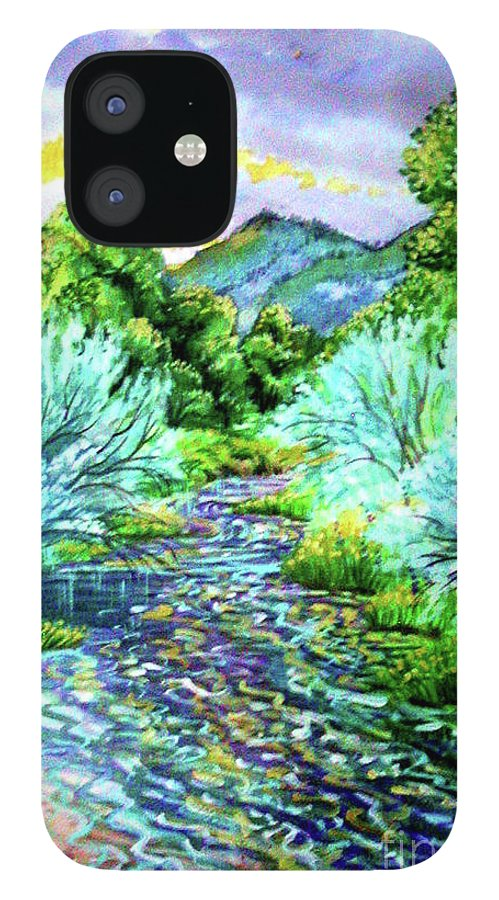 South Platte River At Spring Run Off Life Blood Of Denver Colorado Purples Teal Blues Greens Reflections Yellow IPhone 12 Case featuring the painting South Platte River by Annie Gibbons