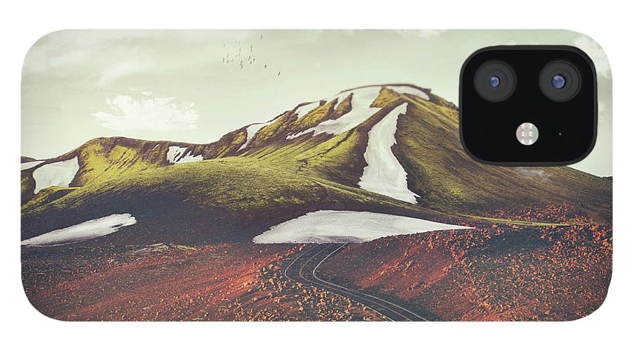 Landscape Spring Winter Dreamscape Hills Mountains IPhone 12 Case featuring the digital art Spring Thaw by Katherine Smit