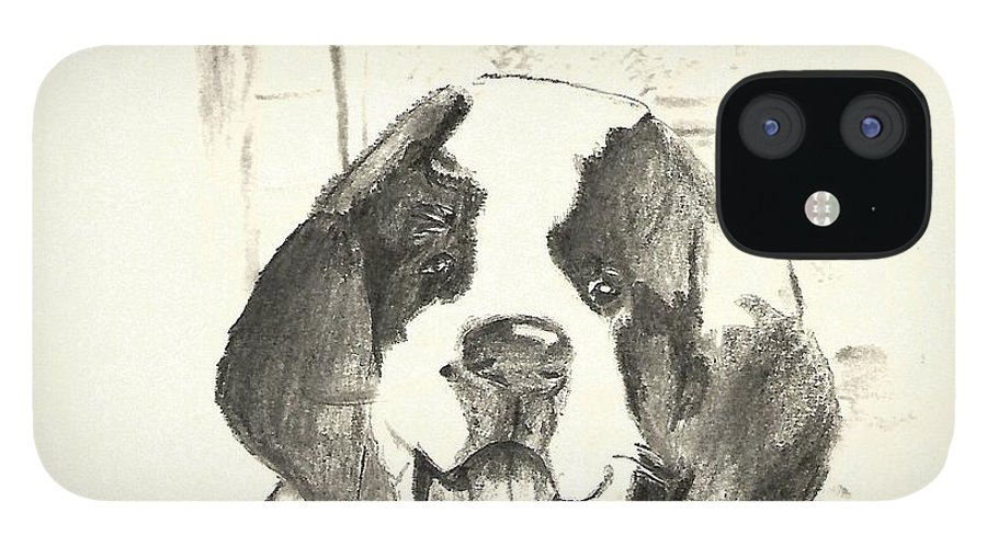 St. Bernard IPhone 12 Case featuring the drawing St. Bernard Puppy by Crystal Webb