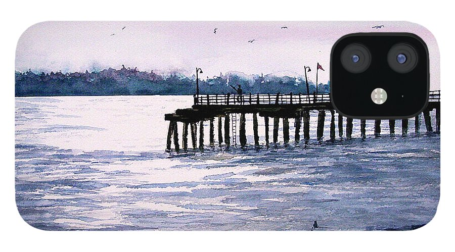 Fishing IPhone 12 Case featuring the painting St. Simons Island Fishing Pier by Sam Sidders