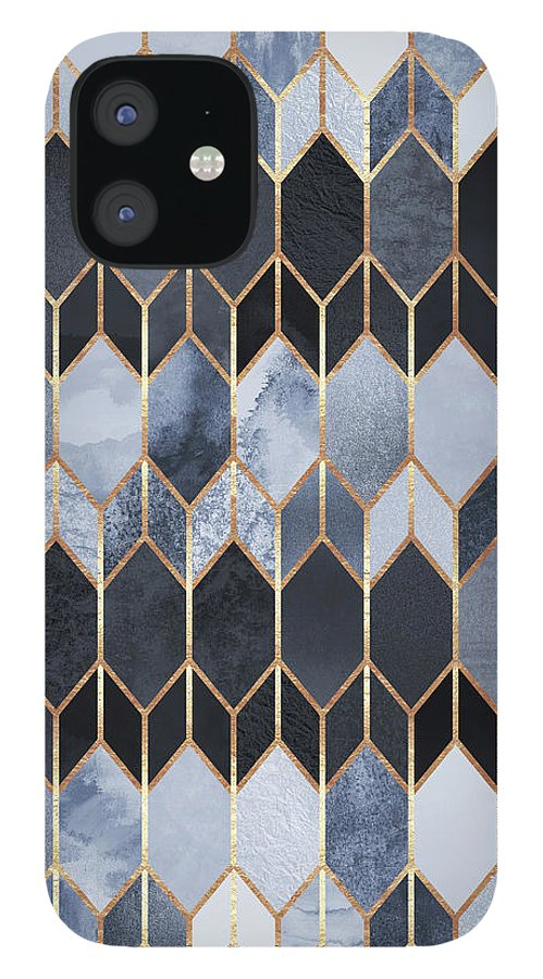 Graphic IPhone 12 Case featuring the digital art Stained Glass 4 by Elisabeth Fredriksson