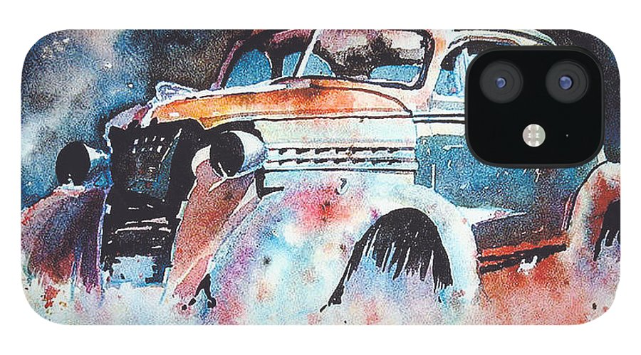 Chev IPhone 12 Case featuring the painting StarlightChevy by Ron Morrison