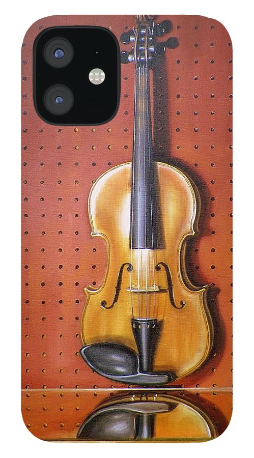 Art IPhone 12 Case featuring the painting Still Life of Violin by RB McGrath