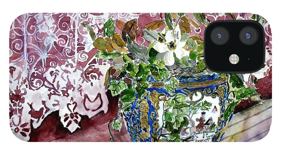 Still Life IPhone 12 Case featuring the painting Still Life Vase And Lace Watercolor Painting by Derek Mccrea