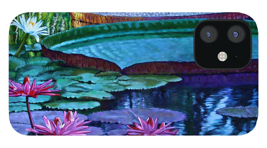 Garden Pond IPhone 12 Case featuring the painting Stillness of Color and Light by John Lautermilch
