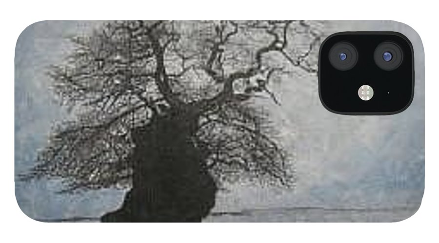Silhouette IPhone 12 Case featuring the painting Stilton Silhouette by Leah Tomaino