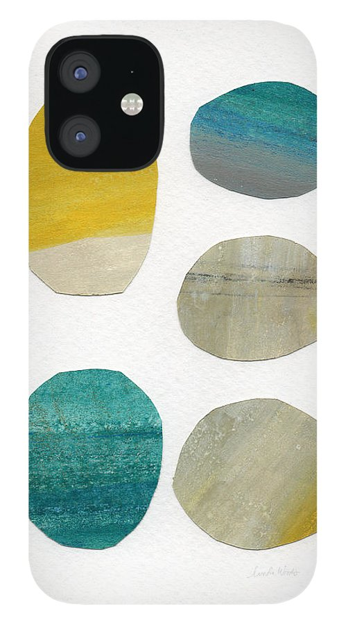 Abstract Art IPhone 12 Case featuring the mixed media Stones- abstract art by Linda Woods