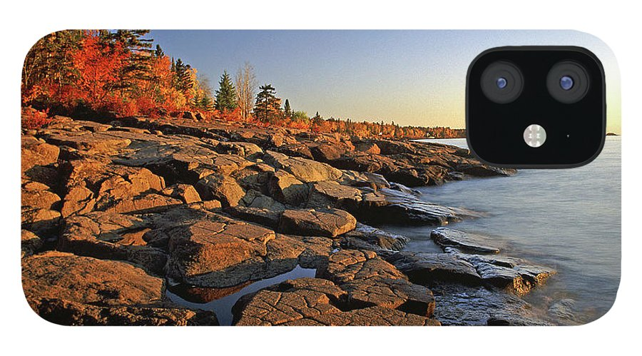 Rocky Shore iPhone 12 Case featuring the photograph Stony Point Sunrise by Bill Morgenstern