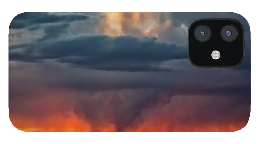 Nature IPhone 12 Case featuring the photograph Storm Light Beam, Albuquerque, New Mexico by Zayne Diamond Photographic