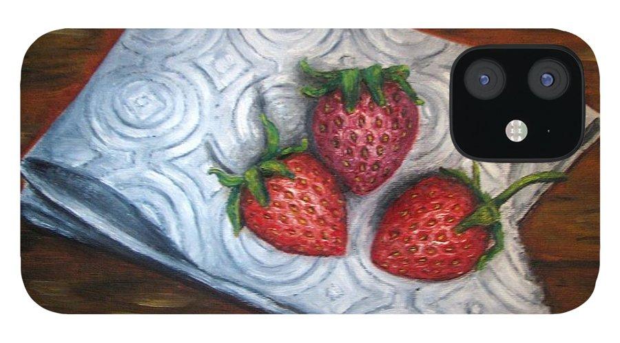 Strawberries IPhone 12 Case featuring the painting Strawberries-3 contemporary oil painting by Natalja Picugina