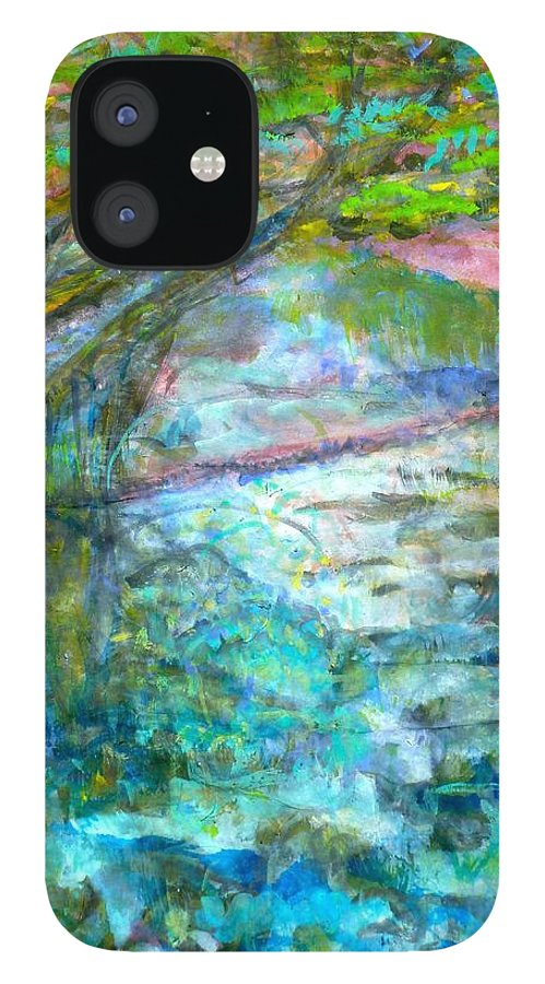 Splash Ink Watercolor IPhone 12 Case featuring the painting Stretching Cypress by Phoenix Simpson