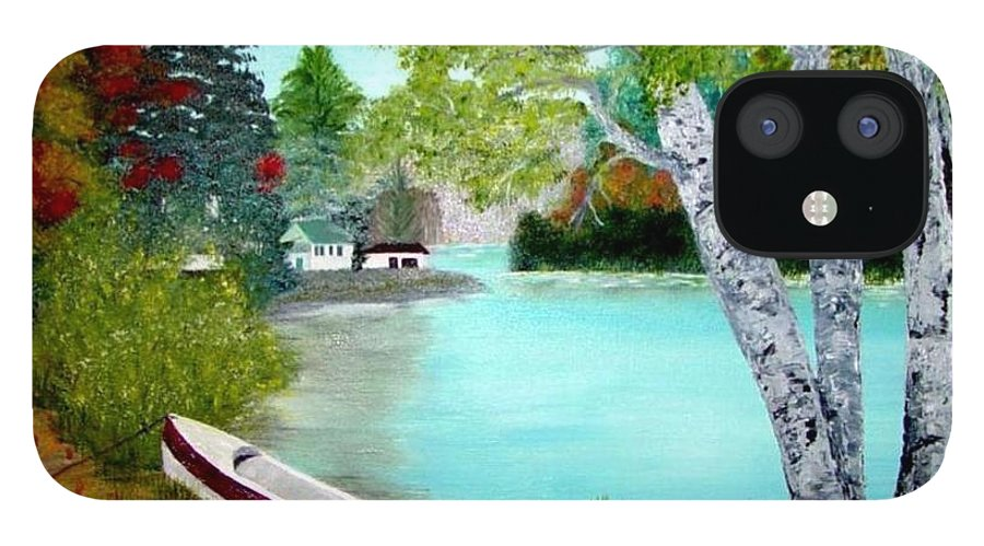 Beautiful Bracebridge Ontario Oil Painting IPhone 12 Case featuring the painting Summer In The Muskoka's by Peggy Holcroft