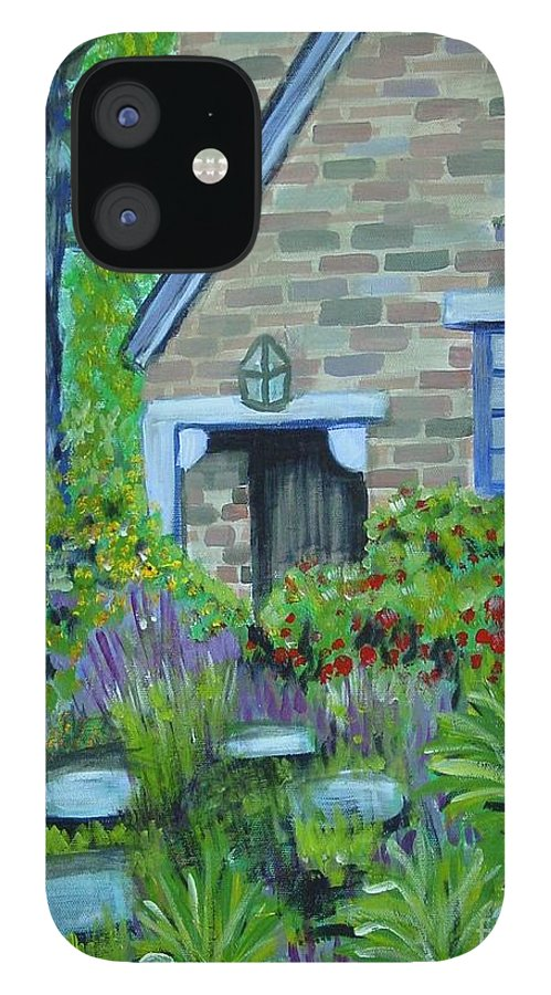 Cottage IPhone 12 Case featuring the painting Summer Retreat by Laurie Morgan