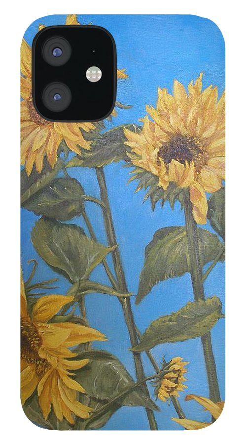 Sunflower IPhone 12 Case featuring the painting Sunflower by Travis Day