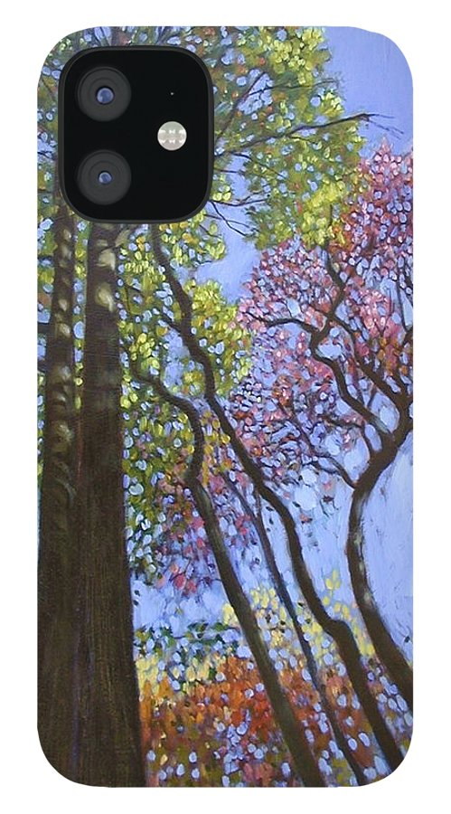 Fall Trees Highlighted By The Sun IPhone 12 Case featuring the painting Sunlight On Upper Branches by John Lautermilch