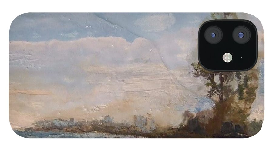 Stream IPhone 12 Case featuring the painting Sunlit Stream by Ruth Stromswold