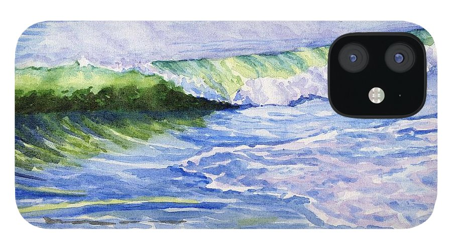 Seascape iPhone 12 Case featuring the painting Sunlit Surf by Sharon E Allen