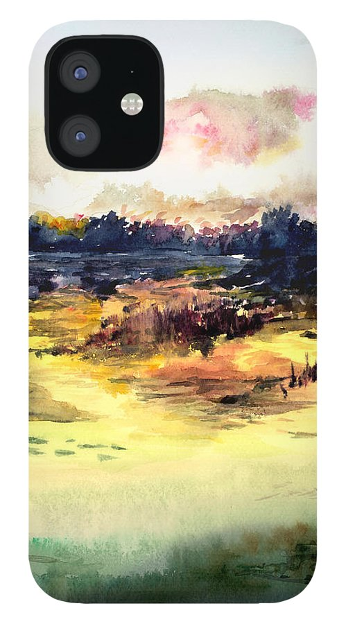 Landscape Water Color Sky Sunrise Water Watercolor Digital Mixed Media iPhone 12 Case featuring the painting Sunrise by Anil Nene