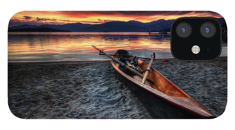 Priest Lake IPhone 12 Case featuring the photograph Sunrise Boat by Matt Hanson