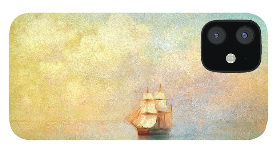 Sunrise On The Sea IPhone 12 Case featuring the painting Sunrise On The Sea by Georgiana Romanovna