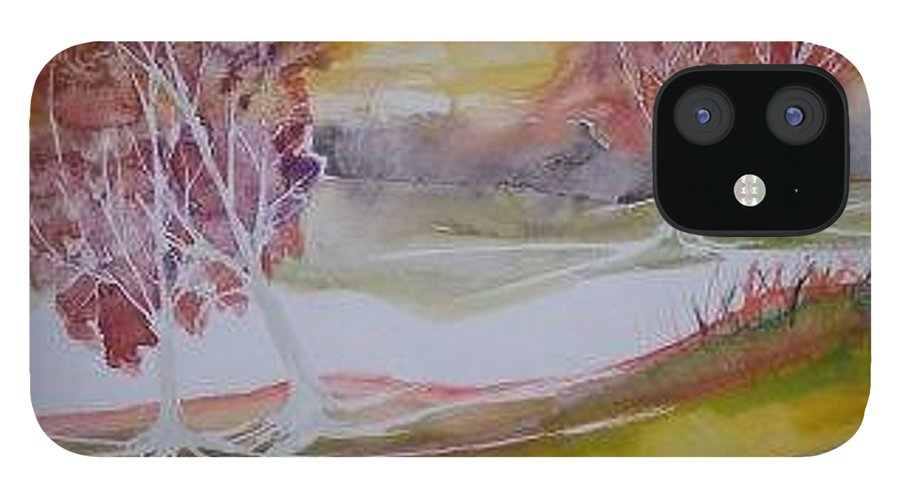 Impressionistic IPhone 12 Case featuring the painting SUNRISE surreal modern landscape painting fine art poster print by Derek Mccrea
