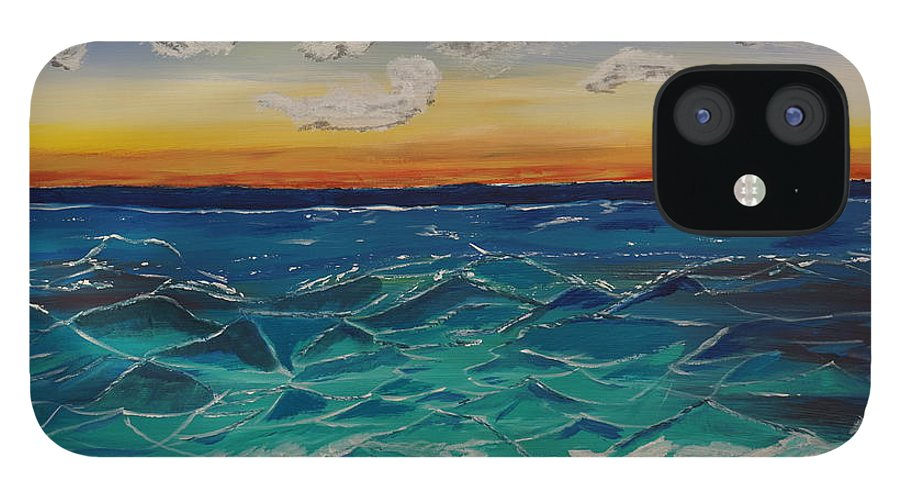 Landscape IPhone 12 Case featuring the painting Sunset and Waves by Jimmy Clark
