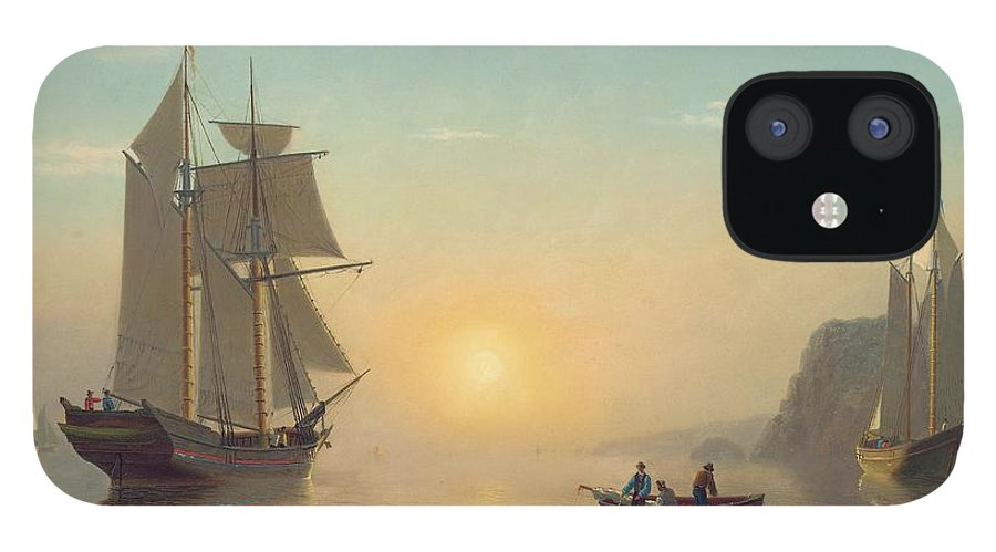 Boat IPhone 12 Case featuring the painting Sunset Calm in the Bay of Fundy by William Bradford