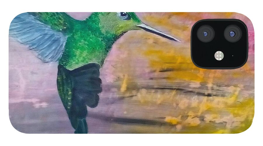 Hummingbird iPhone 12 Case featuring the painting Sunset Dancer by J Bauer