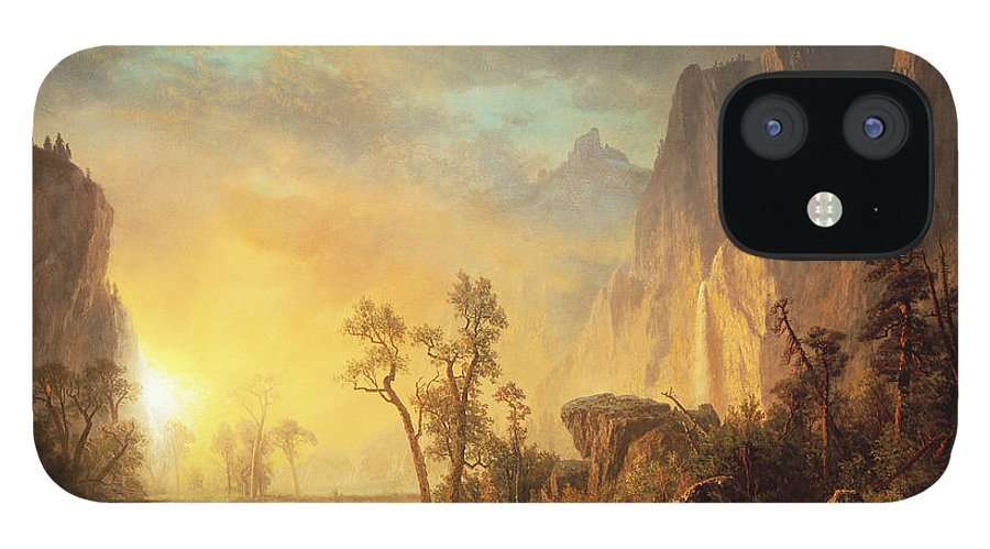 Bierstadt IPhone 12 Case featuring the painting Sunset in the Rockies by Albert Bierstadt